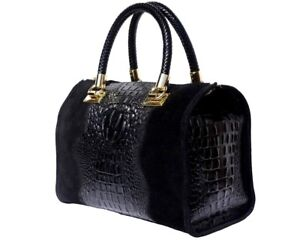 Nwt Handbag Bag Italian Genuine Leather Croco Embossed Florence Made In Italy