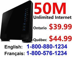 Utilisez votre propre modem VDSL - Internet 50M illimité 44,99 $ / mois,IP statique, Pas de contrat, installation de 39$