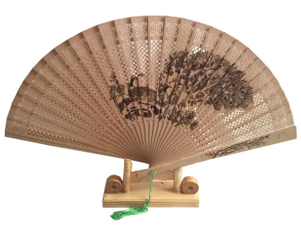 asian fan hand sandalwood