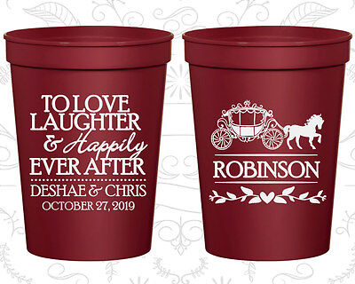 Personalized Wedding Plastic Cups Custom Cup (443) Fairy Tale Wedding Favors - Custom Plastic Cups