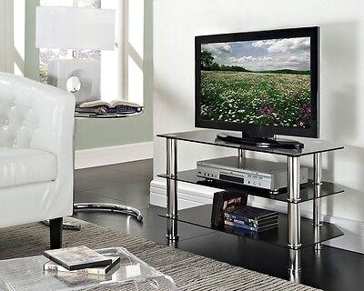"TV Stand Black Glass LED LCD Plasma 3D Upto 50"" Chrome DVD Sony Samsung LG New"