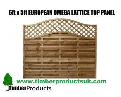 European Fence garden panel 6 x 5 Omega Decorative Lattice Top Pressure Treated