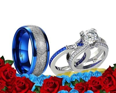 His Tungsten Meteorite and Her Blue Cz Silver Plated Engagement Wedding Ring Set - Blue And Silver Wedding