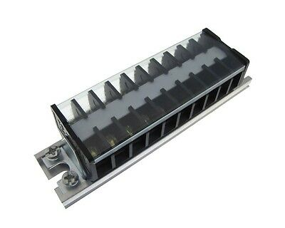 10 Position Screw Barrier Strip Terminal Block W Cover Mounting Rail 15a