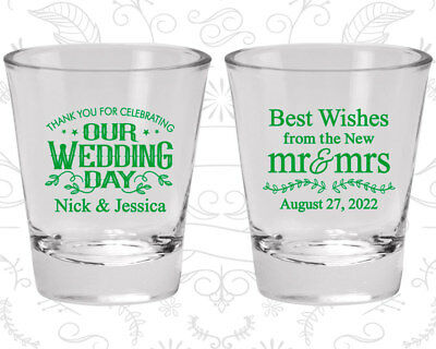 Wedding Shot Glasses Personalized Shot Glass (550) new Mr and Mrs, Best Wishes