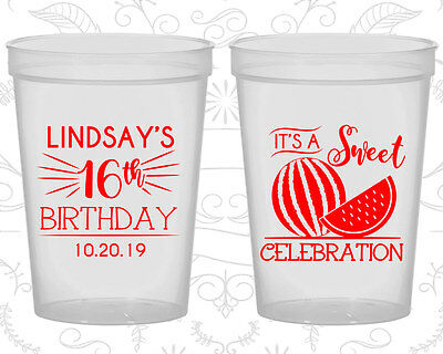 Personalized 16th Birthday Party Cups Custom Cup (20042) Sweet 16, Watermelon