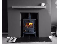4 kw mulit fuel stove + 2 slate hearths + flexible chimney liner kit + oak stove beam + delivery