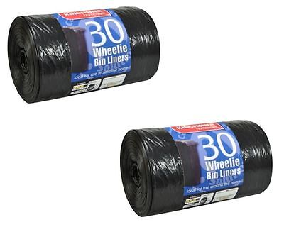 60 WHEELIE BIN LINERS STRONG BIG BLACK REFUSE SACKS THICK RUBBISH BAGS XXL