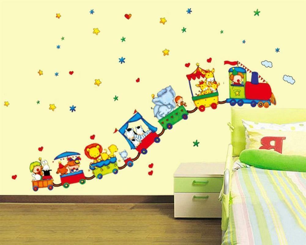 Wandtattoo Wandposter Kinderzimmer Zirkus Tiere Clown Lokomotive Xxl W104 Ebay