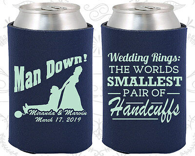 Personalized Wedding Coozies Custom Coozie (501) Man Down, Handcuffs (Wedding Coozies)