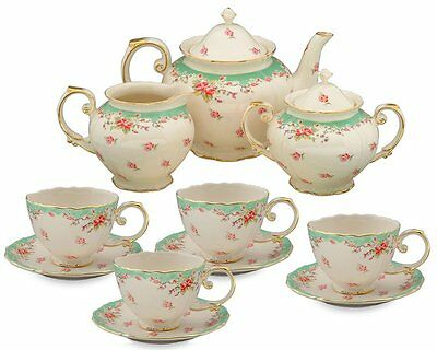 11 Piece China Tea Set Service Vintage Green Rose Porcelain Pot Saucers Cups NEW