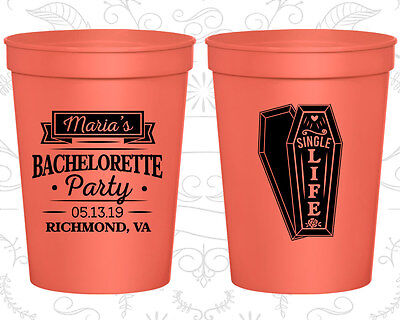 Bachelorette Party Cups Cup Favors (60095) Halloween, Single Life, Funeral - Funeral Party Halloween
