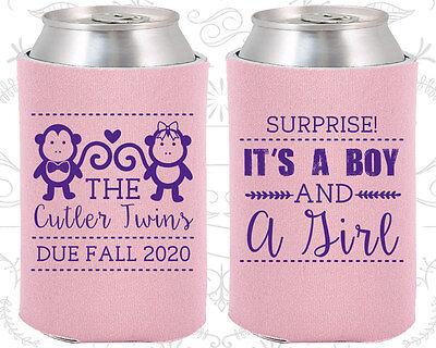 Baby Shower Koozies Koozie Ideas (90063) Twins, Monkey, Boy And Girl - Twins Baby Shower Ideas