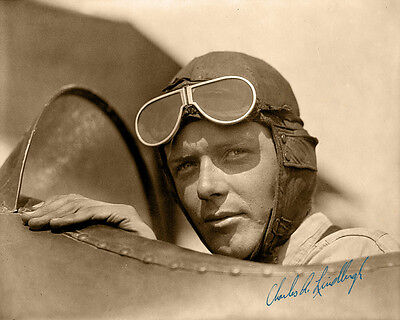 CHARLES LINDBERGH Photo 8X10 - 1929 Lucky Lindy Cockpit  With Autograph RP!