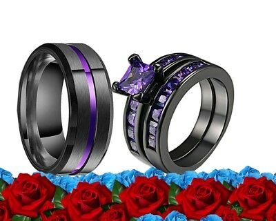 His Stainless Steel and Her Purple Cz Black Plated Engagement Wedding Ring Set