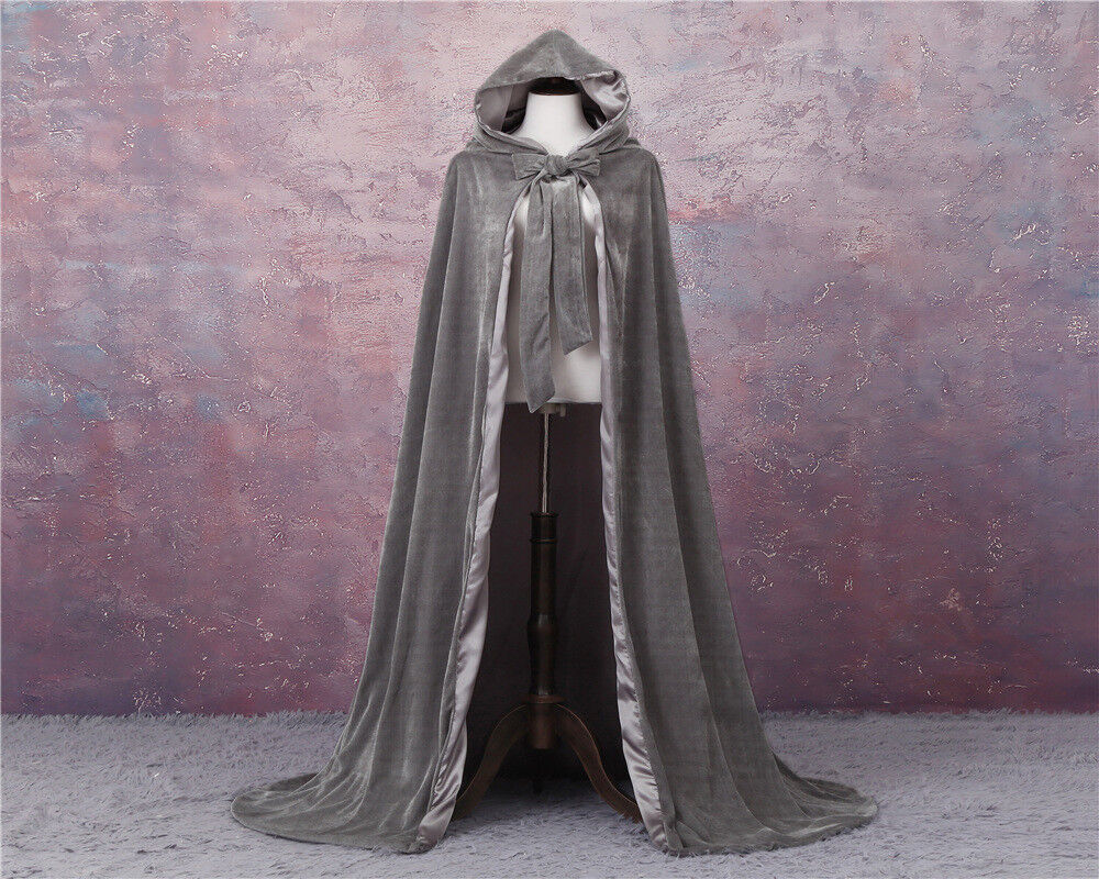 Flannel Gothic Hooded Velvet Cloak Gothic Wicca Robe Medieval Witchcraft Larp