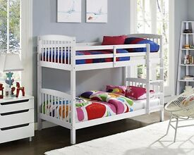 """CHEAPEST GUARANTEED"" - Bunk Bed Single 3FT - White Wood With Mattress Option Split in 2 Single Beds"