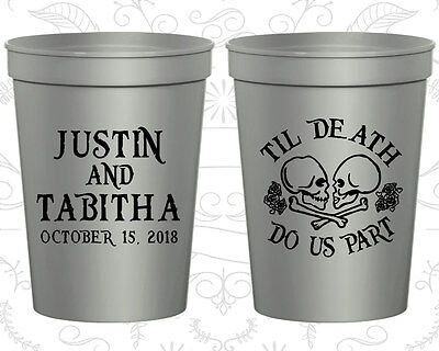 Personalized Plastic Wedding Cups Custom Cup (85) Till Death Do Us Part - Custom Plastic Cups