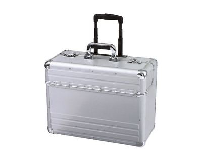New Aluminium Black Pilot Case Wheeled Briefcase Carry Case Travel Work Business ()
