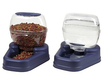 Feeder Water Dispenser Automatic Pet Dog Cat Food Drink Bowl Lid Petite Combo