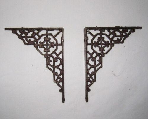 2 Antique Salvage Victorian Cast Metal Shelf Brackets