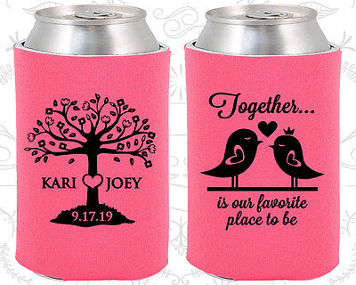 Personalized Wedding Coozies Custom Coozie (81) Wedding Love Tree (Personalized Coozies)