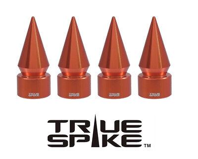 4 TRUE SPIKE ORANGE SPIKED WHEEL AIR VALVE STEM COVER CAP FOR DODGE SUV TRUCK