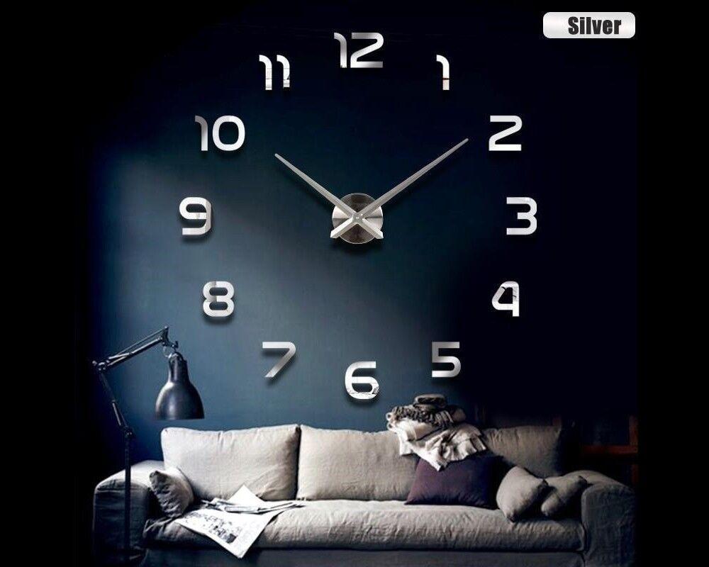 Wanduhr Uhr 3D Wandtattoo Deko Design Spiegel Edelstahl Wand Uhr Groß XXL XL C11