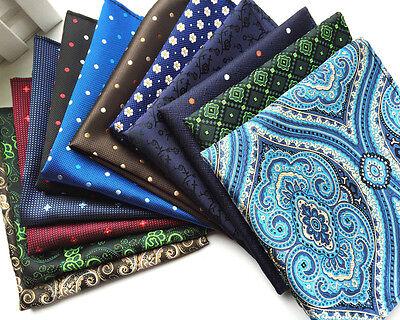 Mens Polka Dot Floral Handkerchief Silk Satin Pocket Square Wedding Party Hanky