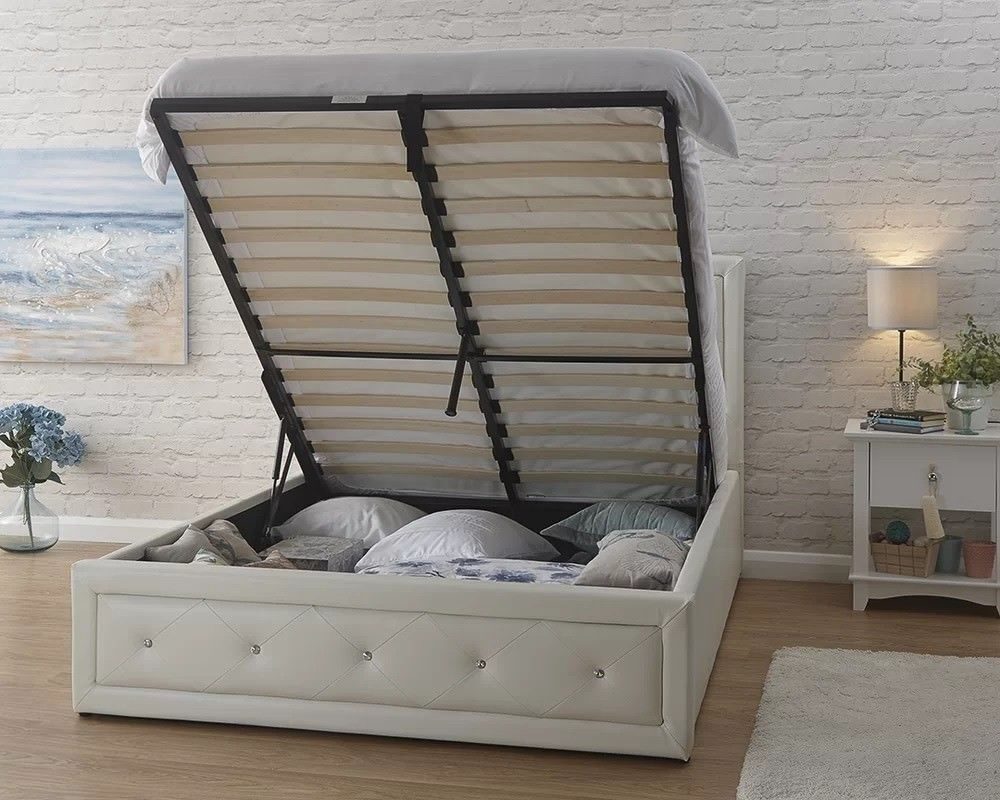 67c3415f0984 UPTO 50% OFF HOLLYWOOD CRYSTAL DOUBLE / KINGSIZE OTTOMAN LEATHER STORAGE BED  FRAME WHITE / BLACK