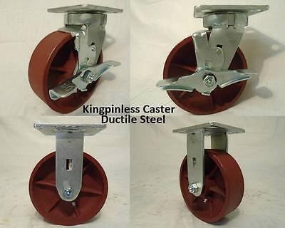 6 X 2 Swivel Casters Kingpinless Ductile Steel Wh Brake 2rigid2 2000lb Ea