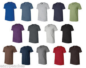 Canvas-Mens-NEW-Size-XS-2XL-Delancey-3005-Short-Sleeve-V-Neck-Tee-T-shirt-FS