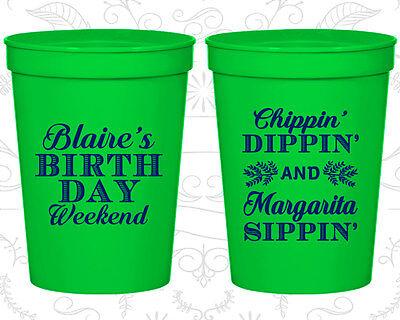 Plastic Margarita Cups (Birthday Plastic Cups Custom Cup (20008) Weekend Chippin Dippin Margarita)