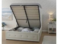 BRAND NEW HOLLYWOOD DIAMANTE DOUBLE / KING SIZE LEATHER STORAGE OTTOMAN BED FRAME IN BLACK WHITE