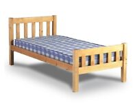 Pine single bed, with mattress (second mattress available if required)