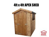 4ft x 4ft Apex or Pent Shed New
