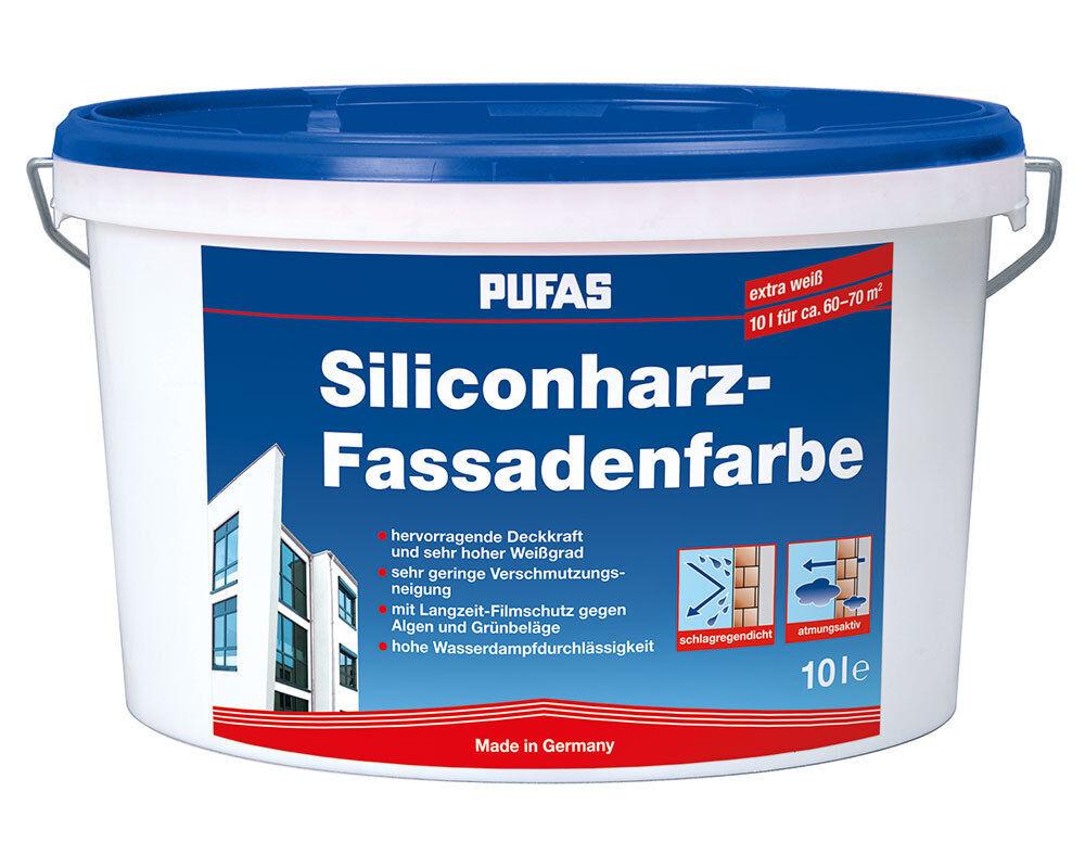 (6,60/L) Pufas  Silikonharz-Fassadenfarbe schlagregendicht Abperleffekt 10L