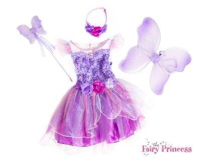 Kleine Fee Kleinkind Kostüme (Mädchen Kleinkind Amethyst Violett Fee Kostüm Bekleidungsset Wings Zauberstab)