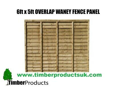 **PACK OF 5** 6ft x 5ft Waney lap fence panel Special Offer 6x5 lap