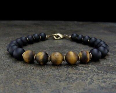 - Black Onyx and Tiger Eye Bracelet - Mens Beaded Bracelet - Mens Jewelry