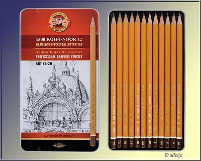 weiche KOH-I-NOOR Bleistifte Graphitstifte zum Zeichnen - Metalletui 8B bis 2H