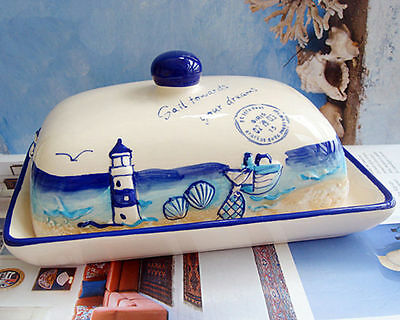 Ceramic Nautical Butter Dish Plate TRAY HOLDER Lid Storage Kitchen farm Country