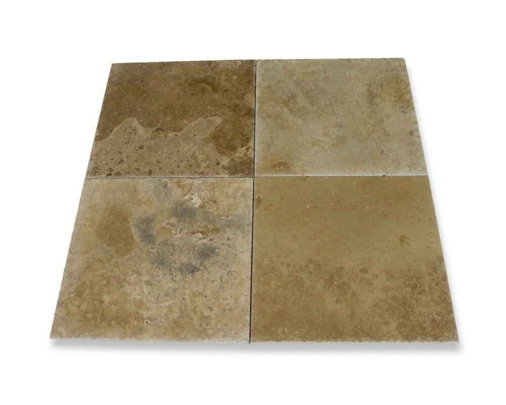 Volcano Travertine Tile - Brushed and Chiseled - 16