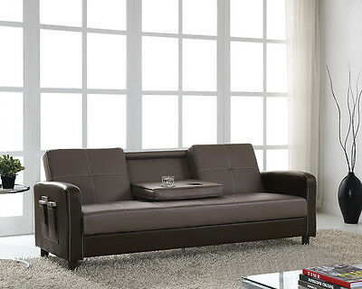 Sofa Bed Faux Leather with Cup holder and Armrests 3 Seater Black Brown Grey New