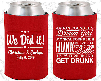 Wedding Favor Coozies Cheap Beer Can Coozie Idea (516) Lets Get Drunk Vintage
