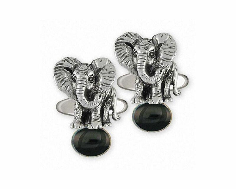 Elephant Jewelry Sterling Silver Elephant Cufflinks Handmade Wildlife Jewelry EL