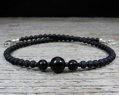 Black Onyx Anklet - Thin Black Ankle Bracelet - Sterling Silver Clasp