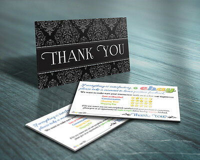 Business cards kamisco 100 thank you business cards ebay seller 5 five star rating professional elegant reheart Image collections
