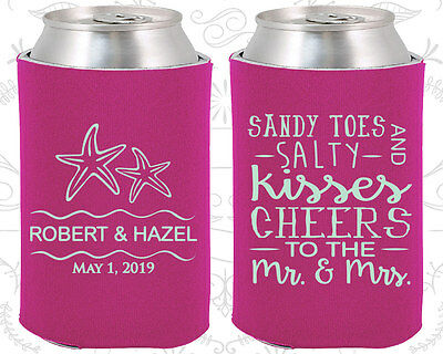 Wedding Favor Coozies Cheap Beer Coozie Idea (356) Sandy Toes And Salty Kisses