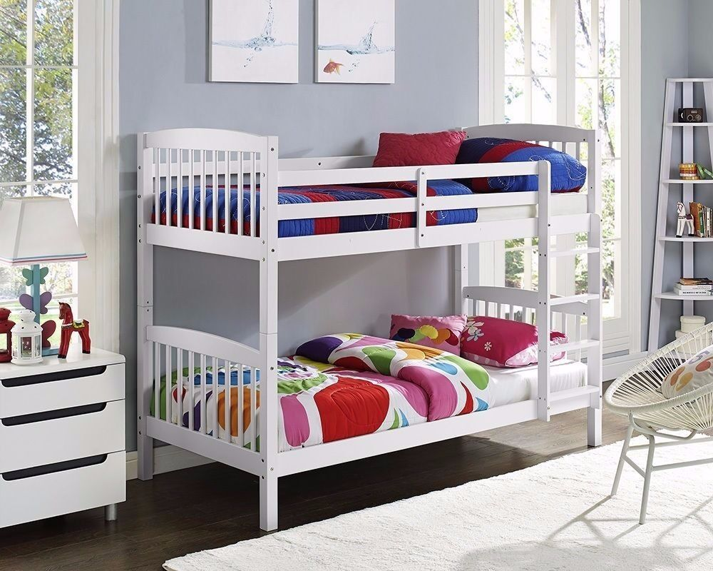 "XMAS SALE: **WOODEN BUNK BED"" WHITE OR WALNUT 3FT Single bottom single top and split in to 2 singles"